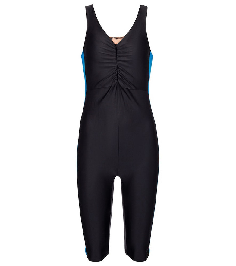 Marine Serre Exclusive to Mytheresa – V-neck swimsuit in black