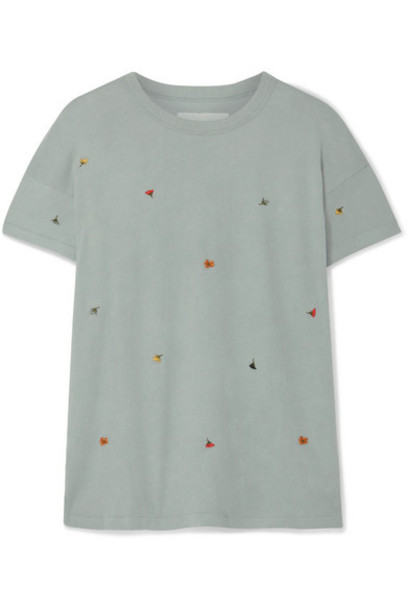 The Great - The Boxy Crew Embroidered Cotton-jersey T-shirt - Gray green