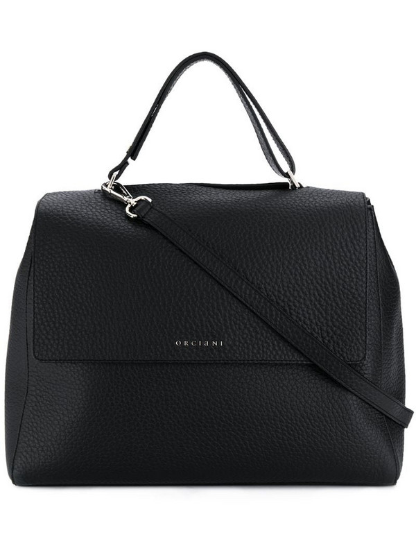 Orciani logo top-handle tote in black