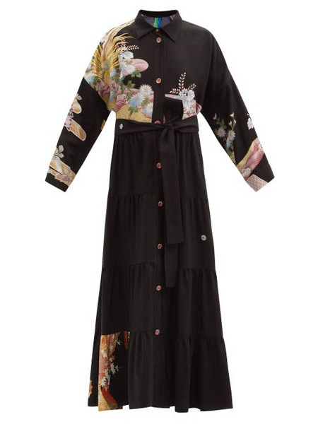 Rianna + Nina Rianna + Nina - Patchwork Vintage-silk Maxi Shirt Dress - Womens - Multi