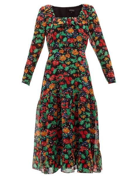 Saloni - Misha Floral-print Silk-chiffon Midi Dress - Womens - Black Multi