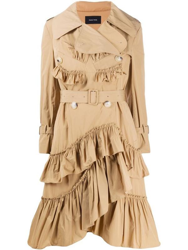 Simone Rocha ruffle trim trench coat in brown