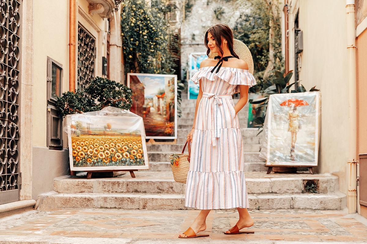 the mysterious girl blogger dress bag hat summer dress summer outfits off the shoulder dress slide shoes basket bag