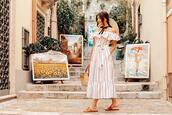 the mysterious girl,blogger,dress,bag,hat,summer dress,summer outfits,off the shoulder dress,slide shoes,basket bag
