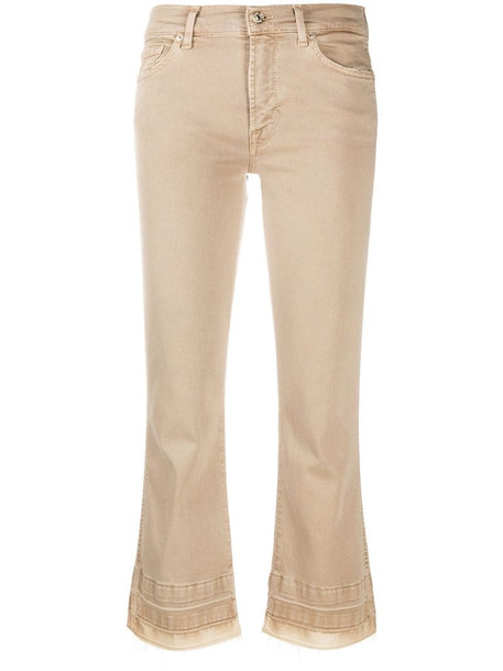 7 For All Mankind Illusion cropped bootcut jeans in neutrals