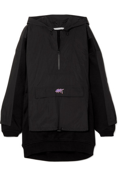 alexanderwang.t - Oversized Embroidered Shell And Cotton-jersey Hoodie - Black