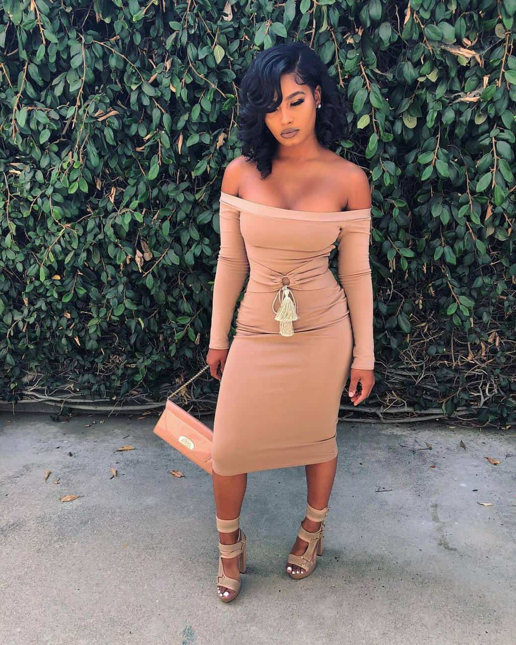 dress tight beige nude cream bodycon belted fold over high waisted strapless