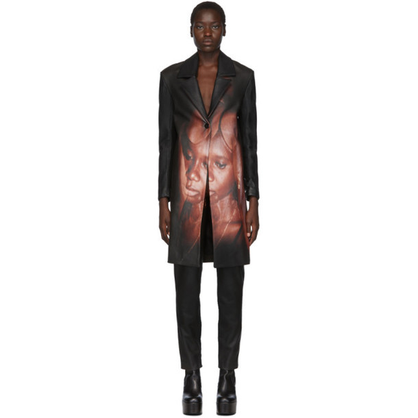 Mowalola SSENSE Exclusive Black Leather Another Mans Wife Coat
