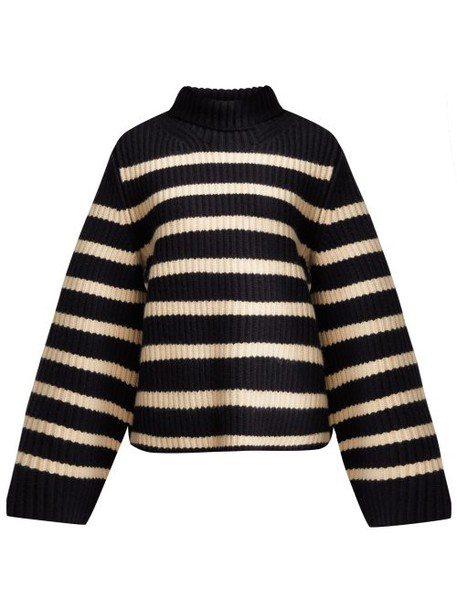 Khaite - Molly Striped Roll Neck Cashmere Sweater - Womens - Navy