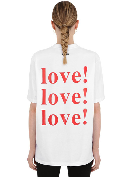 MSGM Love Printed Cotton Jersey T-shirt in white