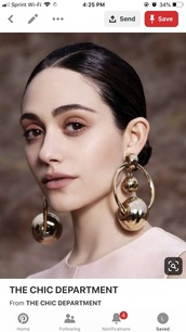 jewels,ball earrings,haute couture,hoop earrings,earrings,double ball earrings,jewelry,high fashion jewelry,chic,pinterest
