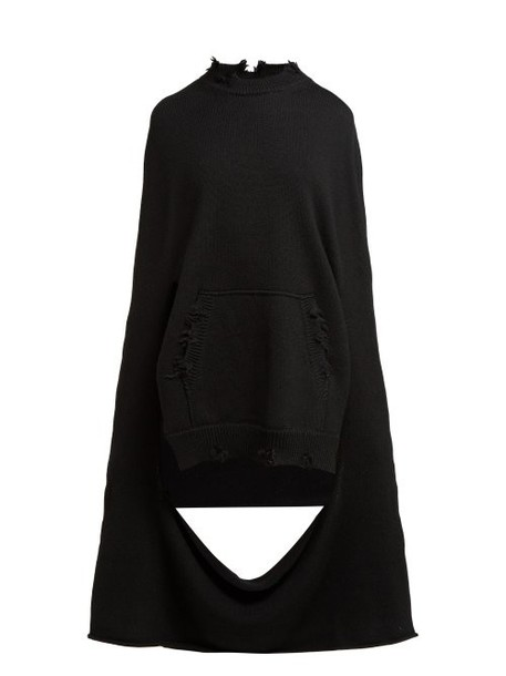 Maison Margiela - Distressed Kangaroo Pocket Wool Poncho - Womens - Black