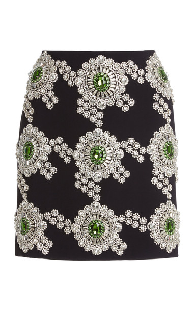 David Koma Crystal-Embroidered Cady Mini Skirt in print