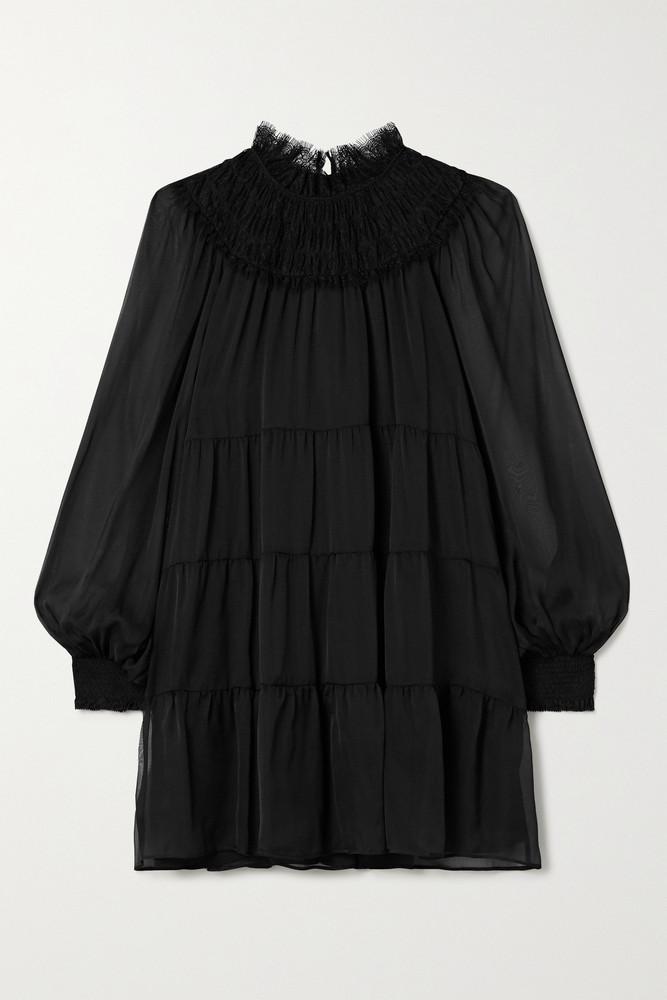 ALICE + OLIVIA ALICE + OLIVIA - Kellyann Tiered Lace-trimmed Silk-chiffon Mini Dress - Black