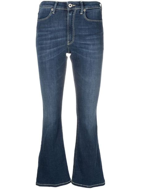 Dondup flared cropped jeans in blue