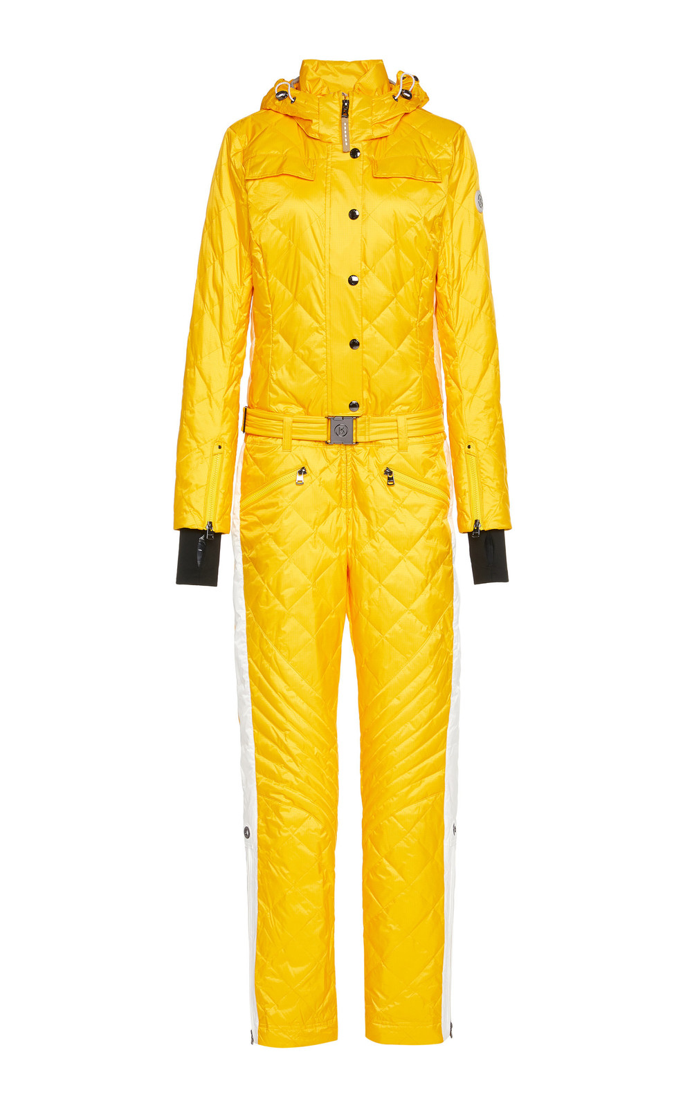 Bogner Greta Hooded Quilted Ripstop Jumpsuit Size: 4 in yellow