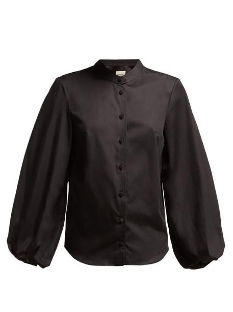 Khaite - Willa Balloon Sleeve Cotton Shirt - Womens - Black