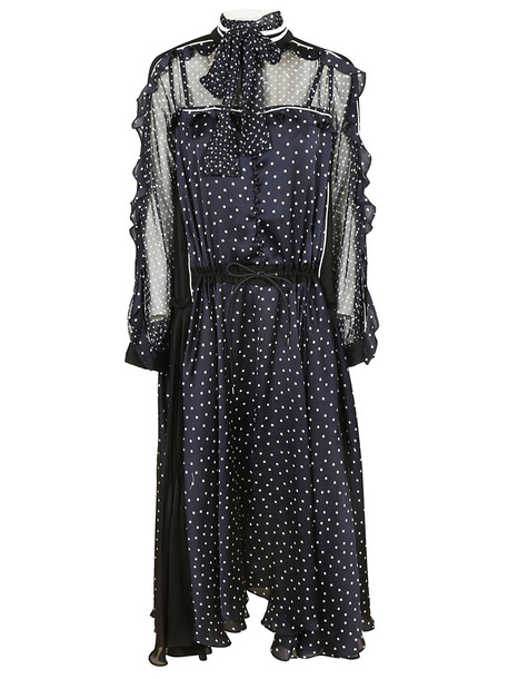 Sacai Asymmetric Maxi Dress in navy