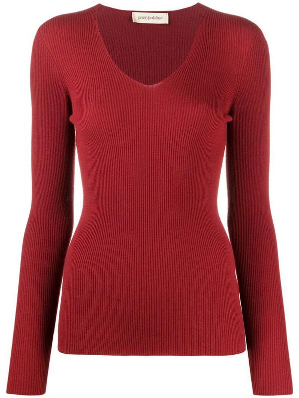 Gentry Portofino fine ribbed v-neck jumper in red