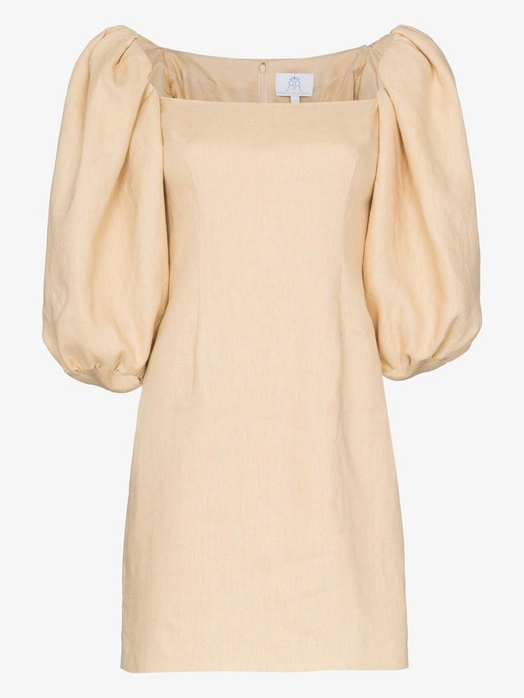 Rebecca De Ravenel Puff sleeve linen dress in neutrals