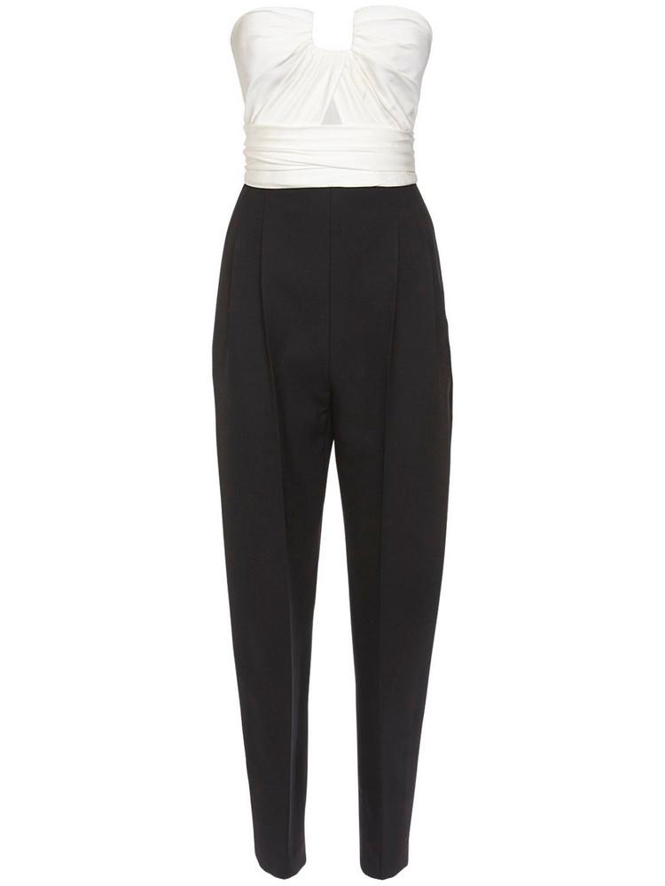 ALEXANDER MCQUEEN Draped Bustier Wool Blend Jumpsuit in black / white