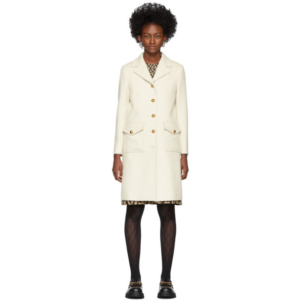 Gucci White Single-Breasted Coat