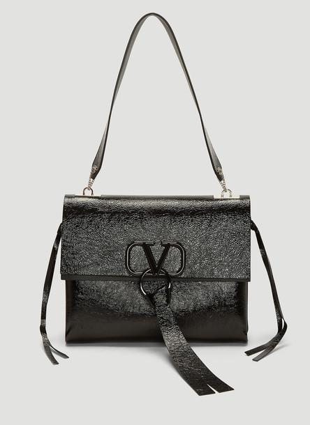 Valentino Logo Clasp Medium Shoulder Bag in Black size One Size