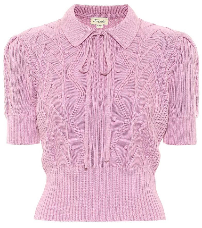 Temperley London Shelley cotton sweater in purple