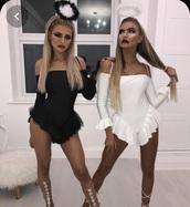 romper,jumpsuit,white,black,halloween costume,top