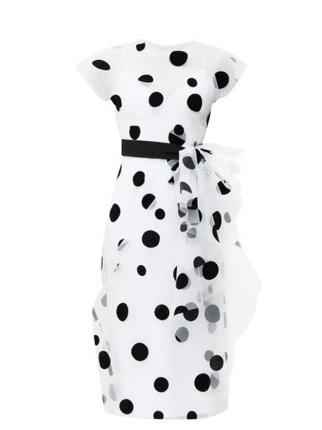 Carolina Herrera - Bow-trim Flocked Polka-dot Tulle Dress - Womens - White Black