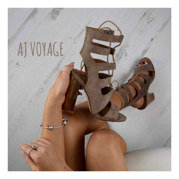 shoes suede heels beige rose gold ootd sandals taupe colour women