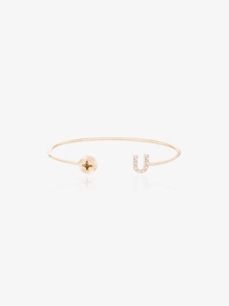 Alison Lou Screw U 14kt yellow gold and diamond bracelet