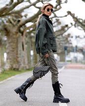 jacket,army green jacket,black boots,combat boots,dior bag