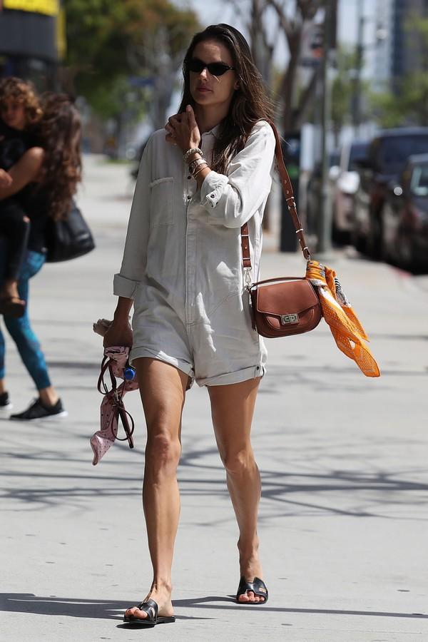 romper alessandra ambrosio model off-duty streetstyle shorts shirt top