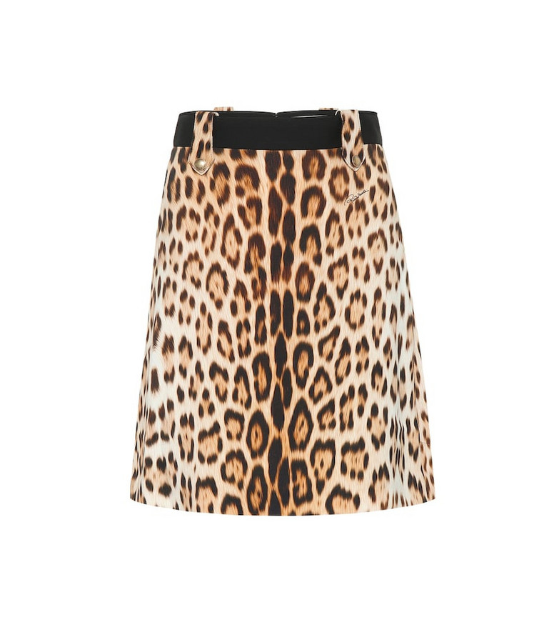 Roberto Cavalli Leopard-print A-line skirt in brown