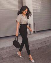 pants,high waisted pants,black pants,skinny pants,pumps,black bag,shirt,short sleeve