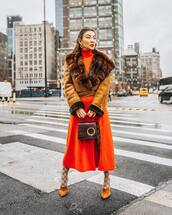 dress,slit dress,orange dress,midi dress,turtleneck dress,mules,tights,gucci,brown bag,handbag,brown jacket,suede jacket,fendi