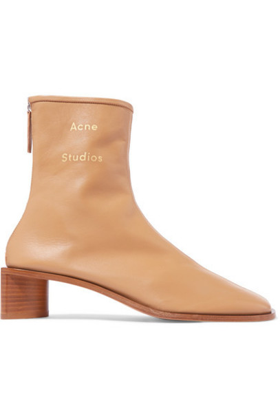 Acne Studios - Bertine Leather Ankle Boots - Beige