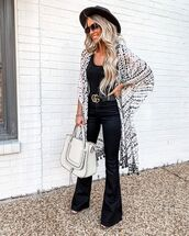 top,kimono,flare pants,black pants,high waisted pants,sandals,gucci belt,white bag,shoulder bag,black top,hat