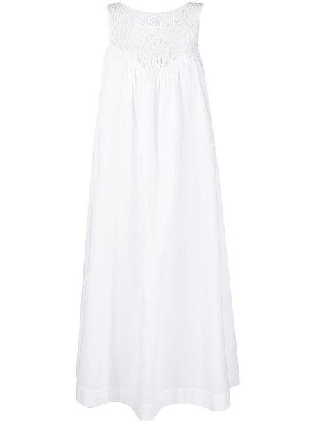 P.A.R.O.S.H. embroidered-detail sleeveless midi dress in white