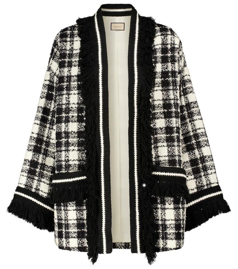 Gucci Checked wool tweed jacket in black