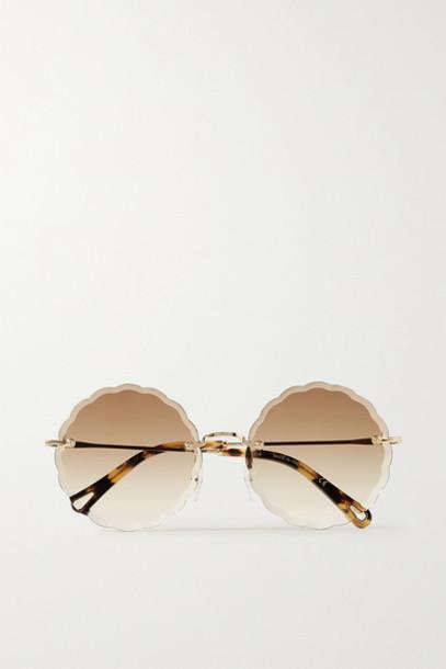 Chloé Chloé - Rosie Round-frame Gold-tone And Tortoiseshell Acetate Sunglasses - Brown