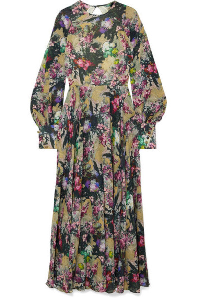 ROTATE Birger Christensen - Open-back Floral-print Crepe Maxi Dress - Lilac