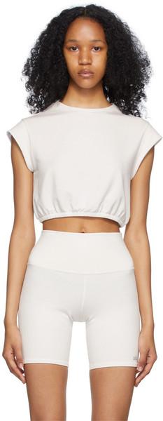 Alo White Dreamy Crop Short Sleeve Sport Top in ivory