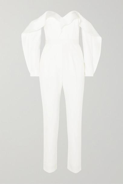 SELF-PORTRAIT - Off-the-shoulder Ruffled Satin Jumpsuit - Ivory