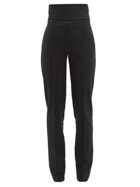 Alexandre Vauthier - High Waist Pinstripe Wool Blend Trousers - Womens - Black Multi