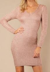 dress,pink,v neck,rose gold,metallic
