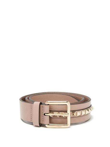 Valentino - Rockstud Leather Belt - Womens - Beige