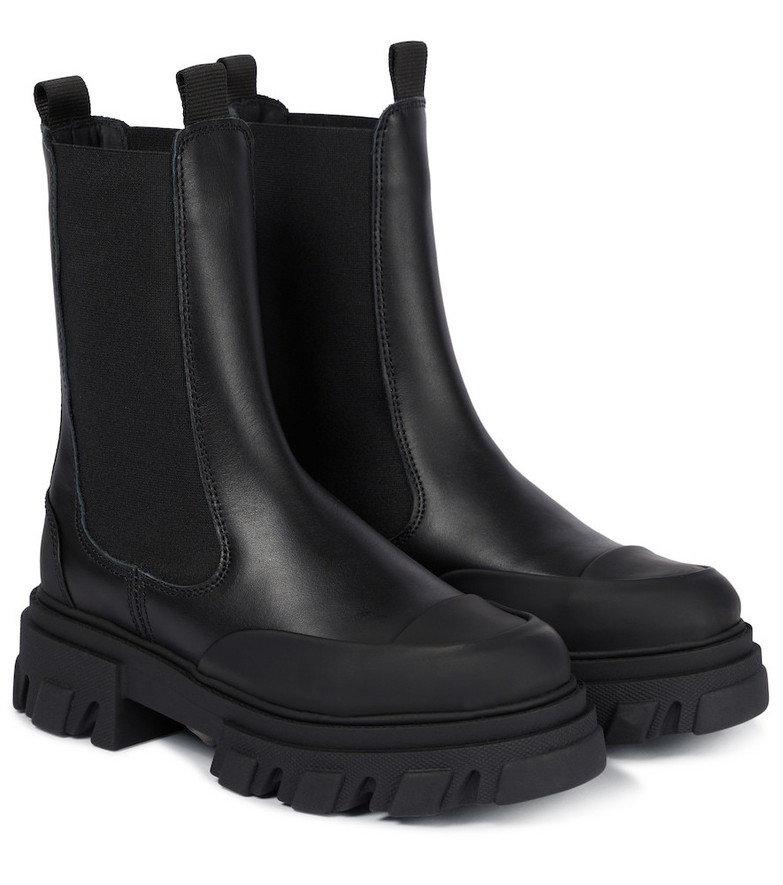 GANNI Leather Chelsea boots in black