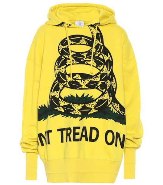 Vetements Printed cotton hoodie in yellow